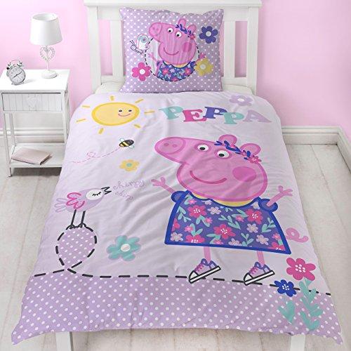 Peppa Wutz Mädchen Bettwäsche · Kinderbettwäsche · Lila, Rosa, Pink · PEPPA PIG Sunny Day · Wendebettwäsche in Flanell / Biber · Kissenbezug 80x80 + Bettbezug 135x200 cm · 100 {3e500584806f47a9825aafc1b9df68e6d19fa77b708a323972eed24122e6f56d} Baumwolle