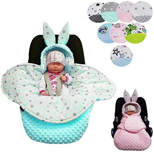 Sweet Baby ** Manta con capucha MINKY BUNNY ** Universal para, por ejemplo, portabebés Maxi Cosi, asiento de coche, cochecito, cuna, etc. (Boys Mouse Blue)