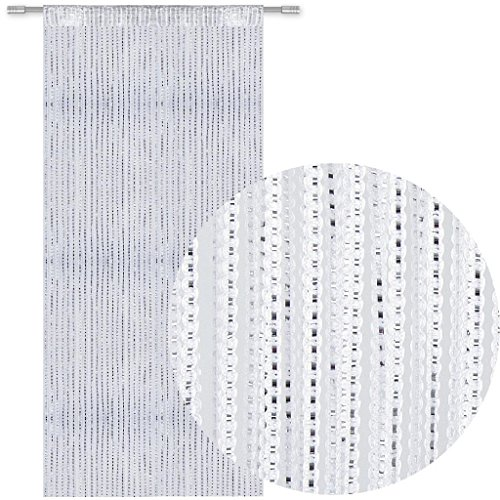 Bestlivings Fadengardine Türvorhang Fadenvorhang Metallikoptik mit Stangendurchzug, trendig schön in vielen erhältlich (90x200 cm/weiß - schneeweiß)