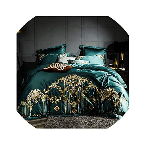 Egyptian Cotton Bedding Set Embroidery Duvet Cover Set Super Soft Quilt Cover Queen Size Bedclothes,3,King Size 4Pcs