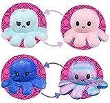 2 Piezas Octopus Reversible Peluches, TIK Tok Pulpo Doble Cara Flip Lindo Muñeca Niños Familiares Amigos Pequeño (Rosa/Azul + Colorido Rosa/Colorido Azul)