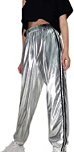 Women's Striped Side Jogger Sweatpants Elastic Waist Track Pant Sliver Metallic Athletic Lounge Pants Lightweight Comfy Long Trousers with Pockets