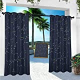 YUAZHOQI Constellation Curtains, Sky Map Andromeda Lacerta Cygnus Lyra Hercules Draco Bootes Lynx, 95 inches Long Patio Curtain for Outdoor Waterproof(1 Panel)