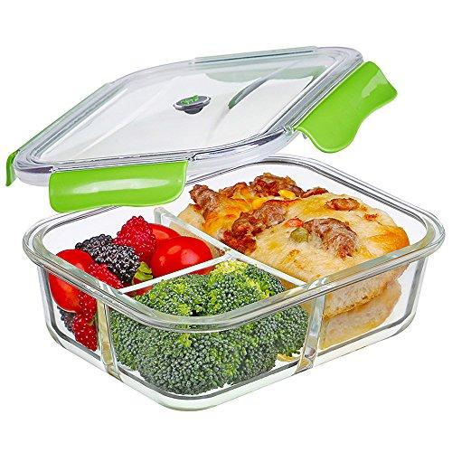 Contenitori per Alimenti, vetro Lunch Box ermetico con 3-scomparti, 100{b489bb3dedd2afa7562bbd9a0608c0b5aa05481acc15536702f68a80c5eee8ca} privo di BPA, a prova di perdita, adatto congelatore, forno, microonde e Lavastoviglie, ideali per la conservazione di alimenti