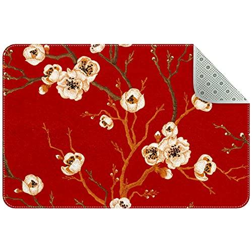 Alfombras de área pequeña Alfombras Florales de Cocina Alfombra de área, 35 'x 24', Flor Japonesa Flor de Cerezo roja
