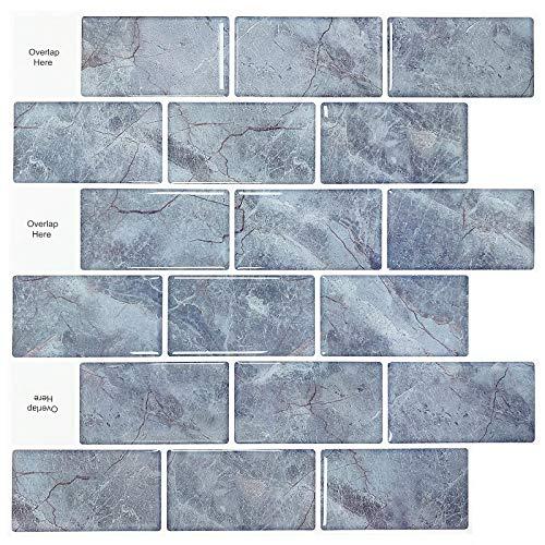 "Uoisaiko Peel and Stick Kitchen Backsplash Wall Tile Stickers 12"" x 12"", 4 Sheets 3D Decorative Vinyl Subway Tile Backsplash for Bathroom"