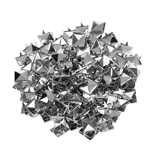 Naliovker 100 Stueck 10 x 10 mm Pyramidennieten Pyramiden Nieten Ziernieten Gothic Punk Basteln DIY Silber