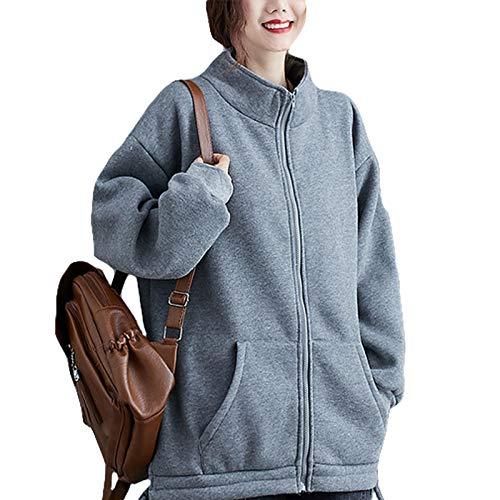 『Semo1mus レディース ジャケット 冬 コート カジュアル 防寒 ゆったり 厚手ファッション 体型カバー おしゃれ グレー』のトップ画像