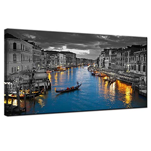 LevvArts - Venice Italy Canvas Wall Art Beautiful Grand Canal Landscape Photograph Night City Skyline Canvas Print Poster for Home Bedroom Living Room Wall Decor Framed and Easy Hanging