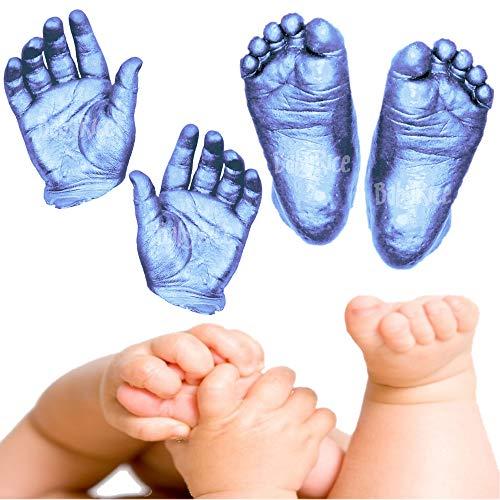 BabyRice Großes Baby Hand- und Fußguss-Set, in Box, inkl. Metallic-Lack (blau)