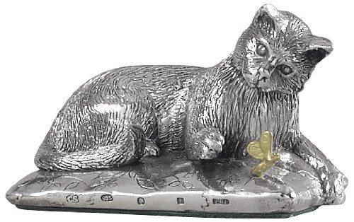 Silver Basket figura Gatto in argento Sterling, decorativo, con punze