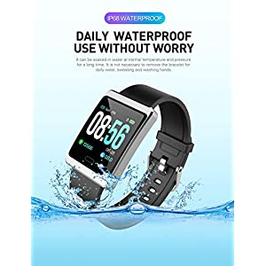 Fitness Tracker with Heart Rate Monitor Smart Watch Blood Pressure Activtiy Tracker Waterproof Touch Screen Pedometer Watch Calorie Step Counter Smart Bracelet for Men Women