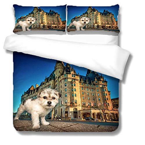 Duvet Cover Set King Blue Sky Puppy Castle 3 Pieces Bedding Set with Zipper Closure,Easy Care Anti-Allergic Soft & Smooth,Microfiber Quilt Cover Sets Includes 2 Pillowcases 200x240cm