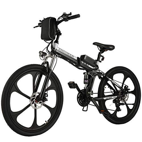 ANCHEER 26 Zoll E-Bike Mountainbike 250W Motor 36V 8AH Lithium Akku 21-Gang, Faltbares Elektrofahrrad Klapprad Pedelec mit 6-Speichen-Rad Vollfederung (Schwarz)