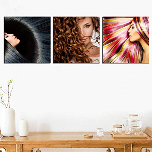 3 stücke Wandkunst Leinwand Kunstdrucke Gemälde Schönheit Friseursalon Dekoration Figur Frisur Poster Bilder Quadros Artwork-40cmx60cmx3pcs_