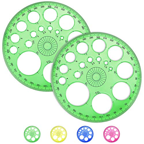 AFASOES 2 Stück Kreis schablone Lineal Kreisschablone 360 Grad Winkelmesser Kunststoff Kreiswinkelmesser Mathematik Winkelmesser Vollkreiswinkelmesser mit 16 Kleinen Kreisen für Studenten Bürobedarf