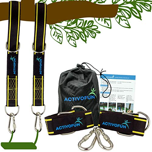 ActivoFun Tree Swing Straps Hanging Kit 10ft - 2 Long Adjustable Strap & Heavy Duty Locking Carabiner, Holds 2400 Lbs, Carry Bag - Fast, Easy & Safe for Infant Swings, Hammock & Outdoor Play Equipment
