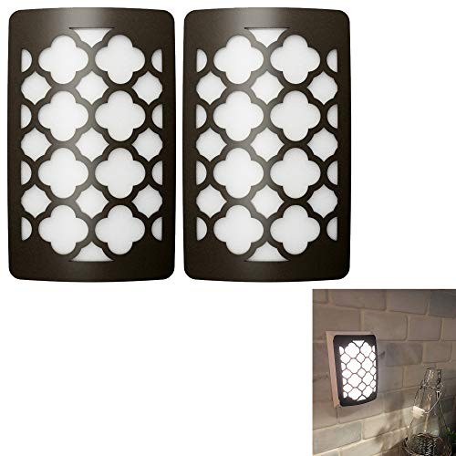 2 Pack of Dark Bronze Decorative LED Night Light Moroccan Style Auto Dusk to Dawn Sensor