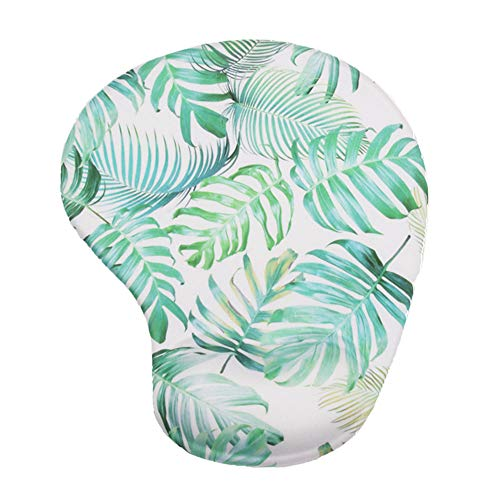 Comidox Ergonomic Mousepad with Wrist Support Silicone Gel Wrist Rest Non-Slip Rubber Base Design Protect Your Wrists and De-Clutter Your Desk(Tropical Green Leaf
