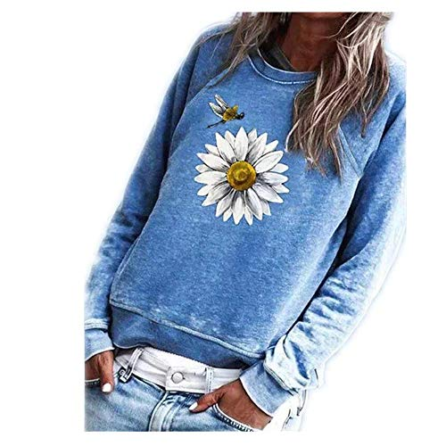 Herbst langes bedrucktes Langarm-T-Shirt für Damen mit Rundhalsausschnitt und Freizeitpullover