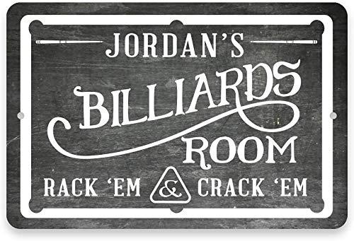 INNAPER Customizable Name Metal Sign Chalkboard Billiards Room Eight Ball, Pool, Cue, Game Room,Wall Decor Gift