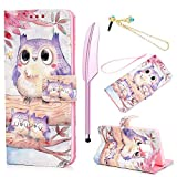 MOLLYCOOCLE Galaxy S9 Wallet Case, Super Warm Cute Owl PU Leather Flip Folio Wallet Case with Slim Lightweight Shockproof TPU Cover Case for Samsung Galaxy S9