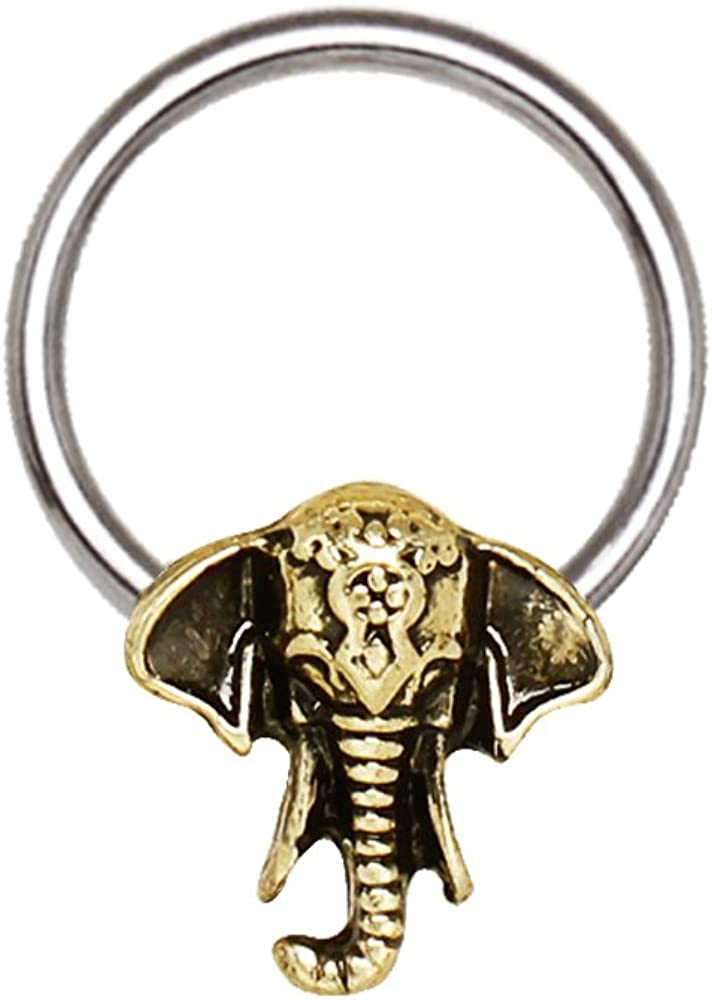 Little Aiden Antique Bronze Plated Elephant Snap-in Cartilage Captive Bead Ring/Septum Ring 316L Stainless Steel Size 16GA 3/8
