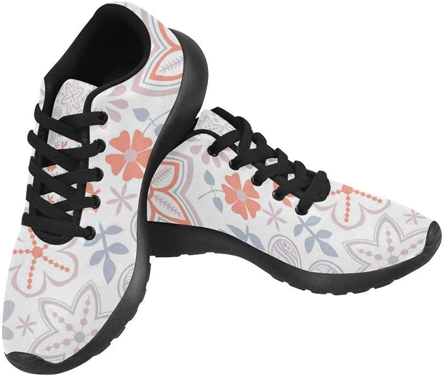 InterestPrint Bright Flowers Print on Women's Running shoes Casual Lightweight Athletic Sneakers US Size 6-15
