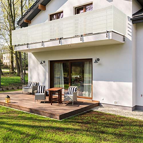 Lumaland Tenda frangivento da Balcone 0,9 x 5 m, con Corde per Montaggio, 100% HDPE con Filtro Anti UV, Creme