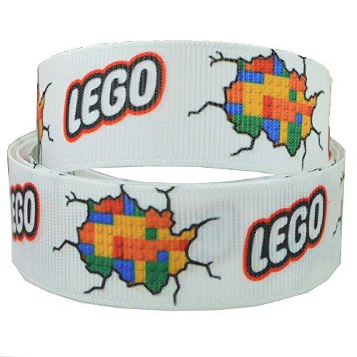 2m x 22mm weiß Lego Brick Ripsband für Geburtstagstorten, Geschenkpapier Band Haar Bögen Karten Craft Schnürsenkel