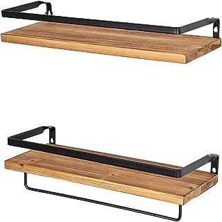 Generic 2ピース/セットフローティング棚ウォールマウント金属木製収納棚キッチン、バスルーム、リビングルームでタオルハンガー