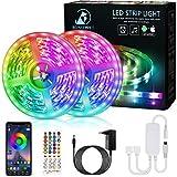 Ruban LED, 12M Bande LED 5050 RGB avec Télécommande à 40 Touches, Synchroniser avec la Musique, Contrôlé par APP du Smartphone Bande LED Lumineuse pour Maison Décoration, Cuisine, Mariage, Fête