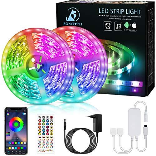 Bonve Pet 12M Bluetooth Striscia LED Musicale 5050 RGB, TV Retroilluminazione Strisce, Funzione Musicale, Programma Personale, Controllo App e Telecomando, Flessibile