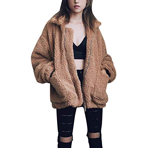 Women\'s Coat Casual Lapel Fleece Fuzzy Faux Shearling Zipper Coats Warm Winter Oversized Outwear Jackets (Khaki,S)