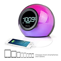 Alarm Can Be Set To Bluetooth Audio, FM Radio Or Built-in Tone Streams Music From Bluetooth-enabled Devices Speakerphone Enables Paired Cellular Phone Functions With Microphone, Talk & End Buttons Translucent Cabinet & Display Changes Color At The To...