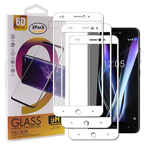 Guran [3 Paquete Protector de Pantalla para BQ Aquaris X Pro/BQ Aquaris X Smartphone Cobertura Completa Protección 9H Dureza Alta Definicion Vidrio Templado Película - Blanco