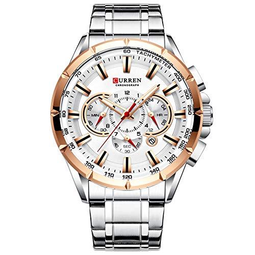 Curren Reloj de pulsera para hombre Tres Sub Dials Fecha Display Plata Acero Deportivo Cuarzo Reloj Blanco 8363