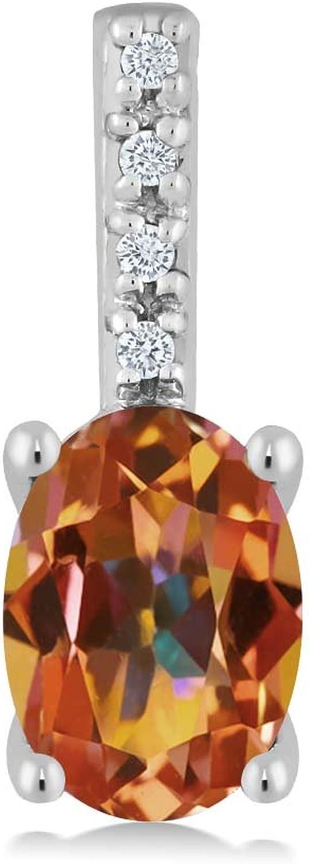 10K White gold Oval Ecstasy Mystic Topaz and Round White Diamond Pendant Necklace (7x5mm center, 0.80 cttw)
