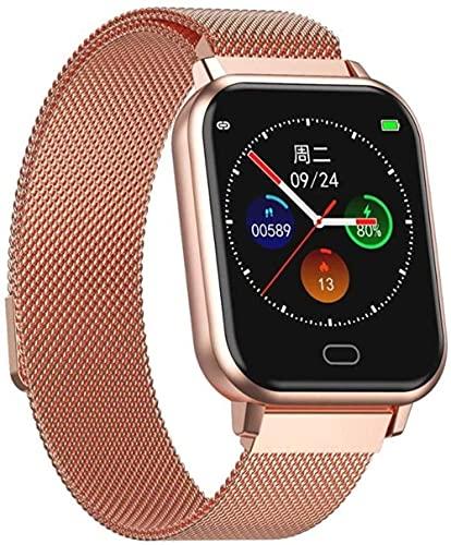 Reloj inteligente para mujer y hombre de 1 4 pulgadas con pantalla táctil completa de presión arterial, reloj inteligente GTS Smartwatch para iOS Android (color: púrpura) - dorado