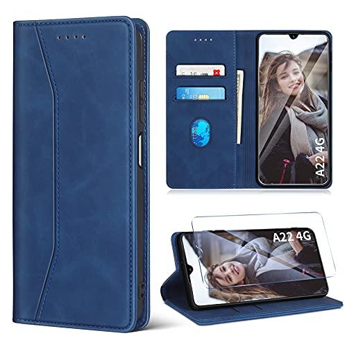 ivencase Handyhülle Kompatibel mit Samsung Galaxy A22 4G Hülle & Panzerglas Luxus PU Leder Tasche Flip Hülle Standfunktion Kartenfächer & Magnet Klappbar Stoßfeste Schutzhülle - Blau