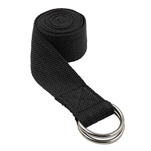 Topdo Cinturón de Yoga de algodón Duradero con cinturón de Hebilla con Anillo en D Ajustable para Estiramiento de la Aptitud para Mantener la flexibilidad de la Postura y la Fisioterapia-Negro