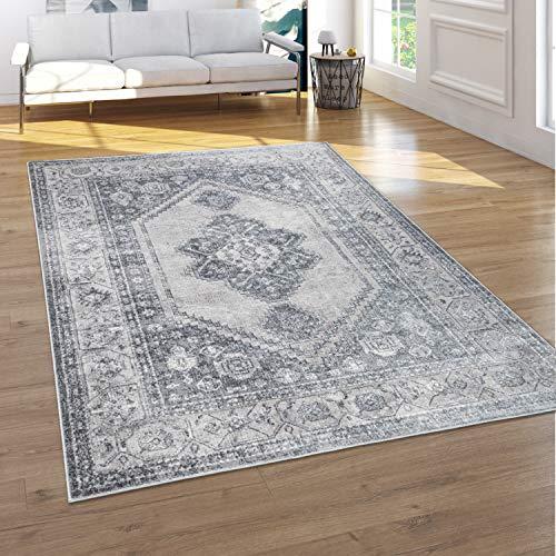 Paco Home Teppich Wohnzimmer Vintage Kurzflor Orientalisches Muster 3D Effekt Grau Beige, Grösse:80x150 cm
