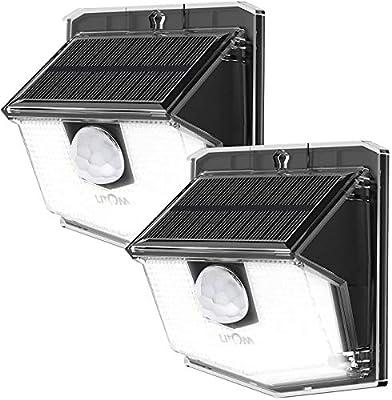 LITOM Solar Lights Outdoor, IP67 Waterproof Solar Powered Motion Sensor Lights 60 LEDs Wireless Solar Security Wall Lights for Front Door, Garden, Patio, Yard, Garage, Deck, Driveway 2 Pack Cold White