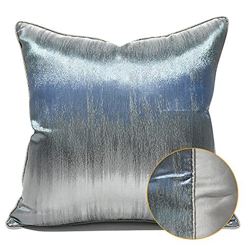 QMZ Fundas de Cojines Funda de Almohada Cuadrada Abstracta Azul y Plateada de Alta precisión de Lujo Ligero (sin núcleo) decoración de sofá súper Accesorios50cm