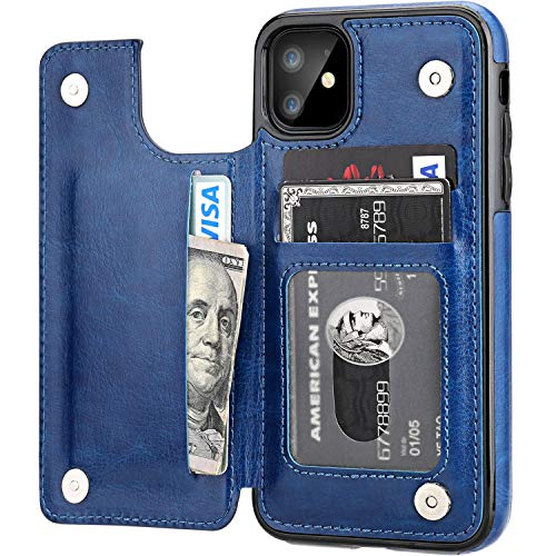 iPhone 11 Wallet Case with Card Holder,OT ONETOP PU Leather Kickstand Card Slots Case,Double Magnetic Clasp and Durable Shockproof Cover for iPhone 11 6.1 Inch(Blue)