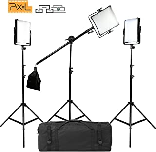 PIXEL 3Packs Bi-Color Dimmable 600 Sphere LED Video Shooting Light with CRI96+ 45W 3000K-8000K 19000 Lux (0.5 m) Photography Fill Light for YouTube, Live Broadcast, Outdoor Video Shooting, Interviews