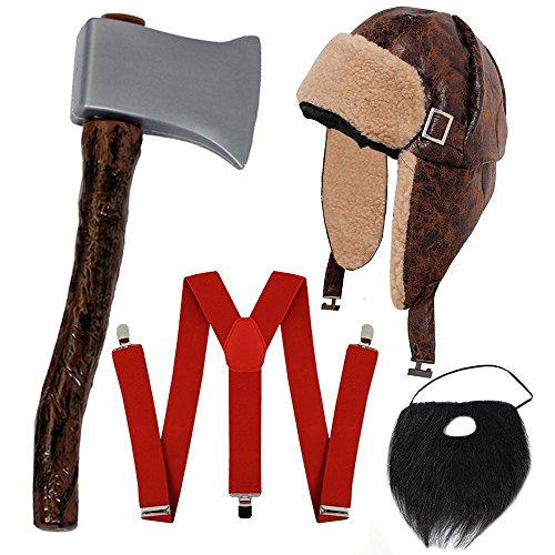 I LOVE FANCY DRESS LTD HOLZFÄLLER-Hillbilly-Lumberjack = KOSTÜM VERKLEIDUNG Halloween Fasching+Karneval Unisex =Verschiedene Sets= HOSENTRÄGER+MÜTZE+AXT+BART
