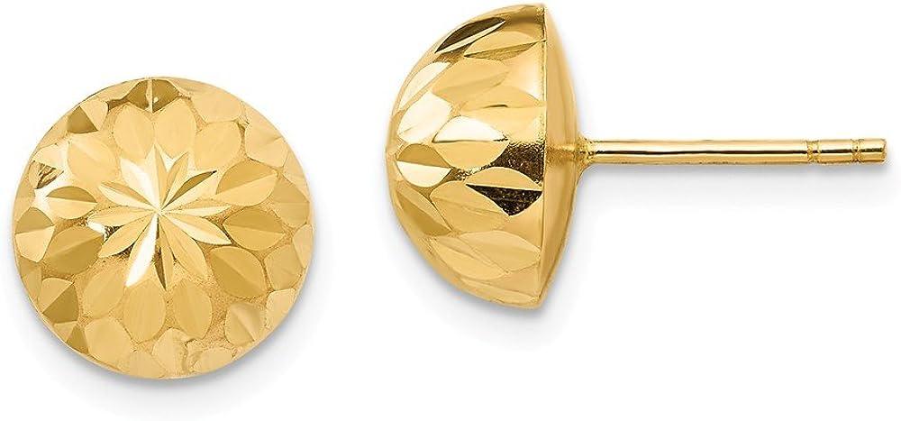 Black Bow Jewelry 9mm Diamond-cut Half-Ball Post Earrings in 14k Yellow Gold