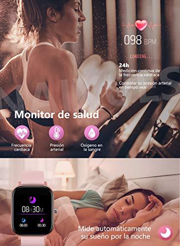 """NAIXUES Smartwatch, Reloj Inteligente Impermeable IP67 Reloj Deportivo 1.4"""" Pantalla Táctil Completa con Pulsómetro, Monitor de Sueño, Podómetro, Notificaciones para Mujer Hombre (Negro) 5"""