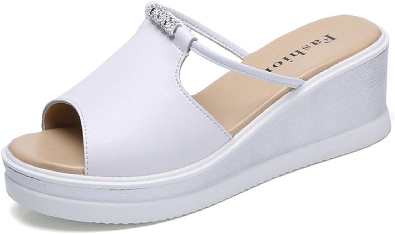 Wedges Flip Flops Flat Sandals for Women,Elegant Rhinestone Peep Toe Beach Slides shoes